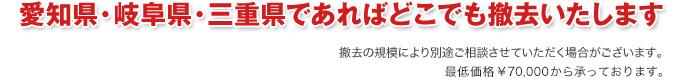 愛知県・岐阜県・三重県であればどこでも撤去いたします